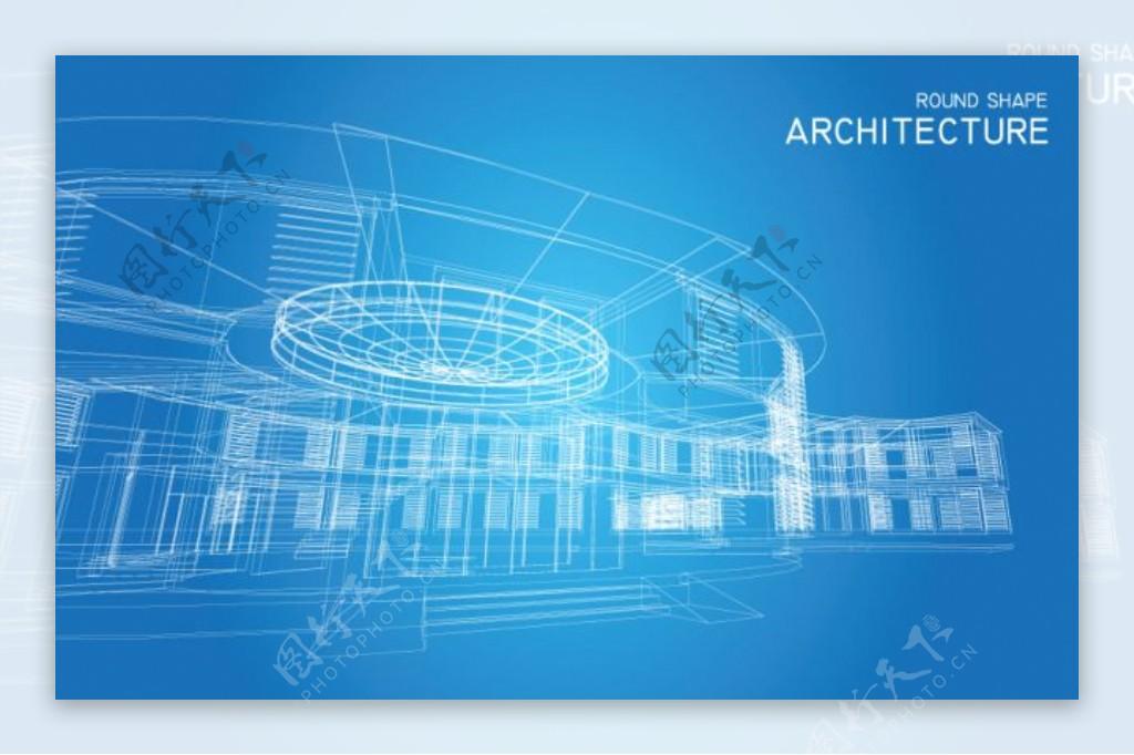 矢量建筑线稿效果图设计