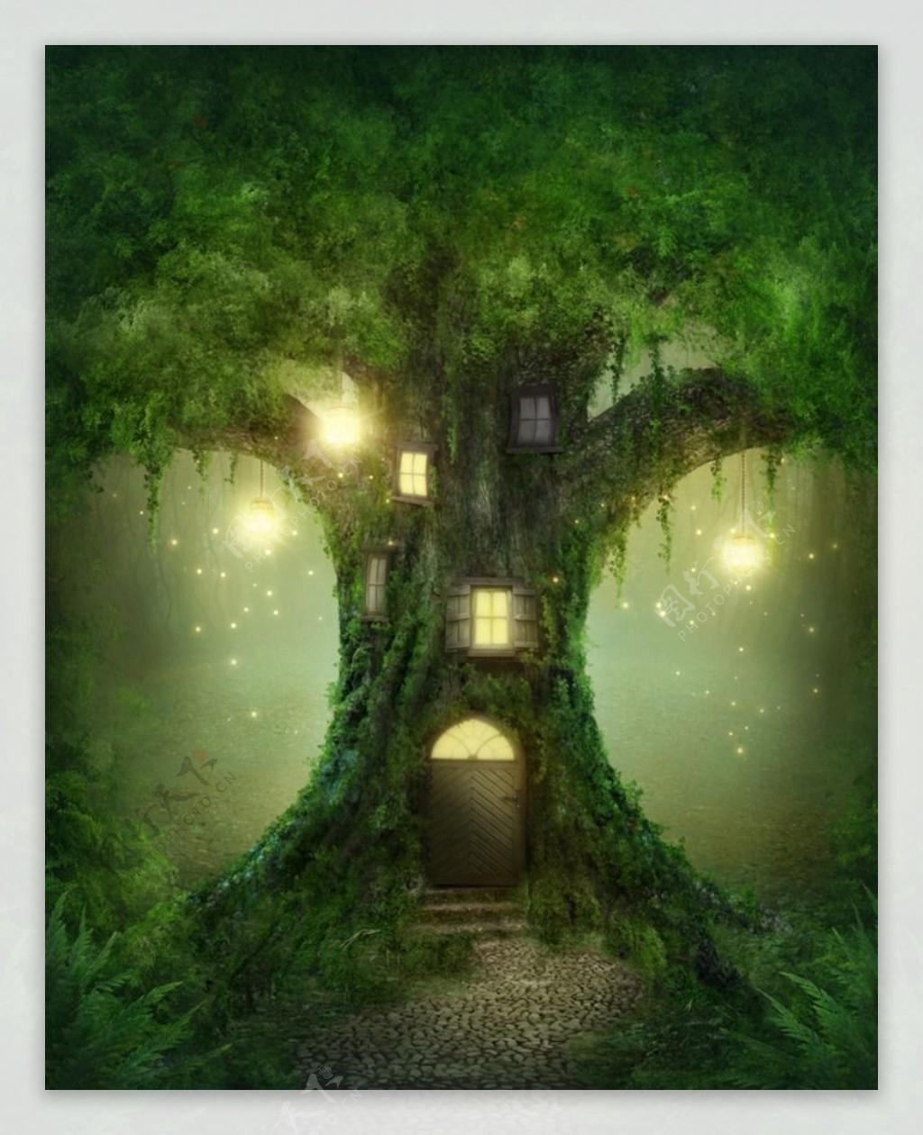 树屋大门图片