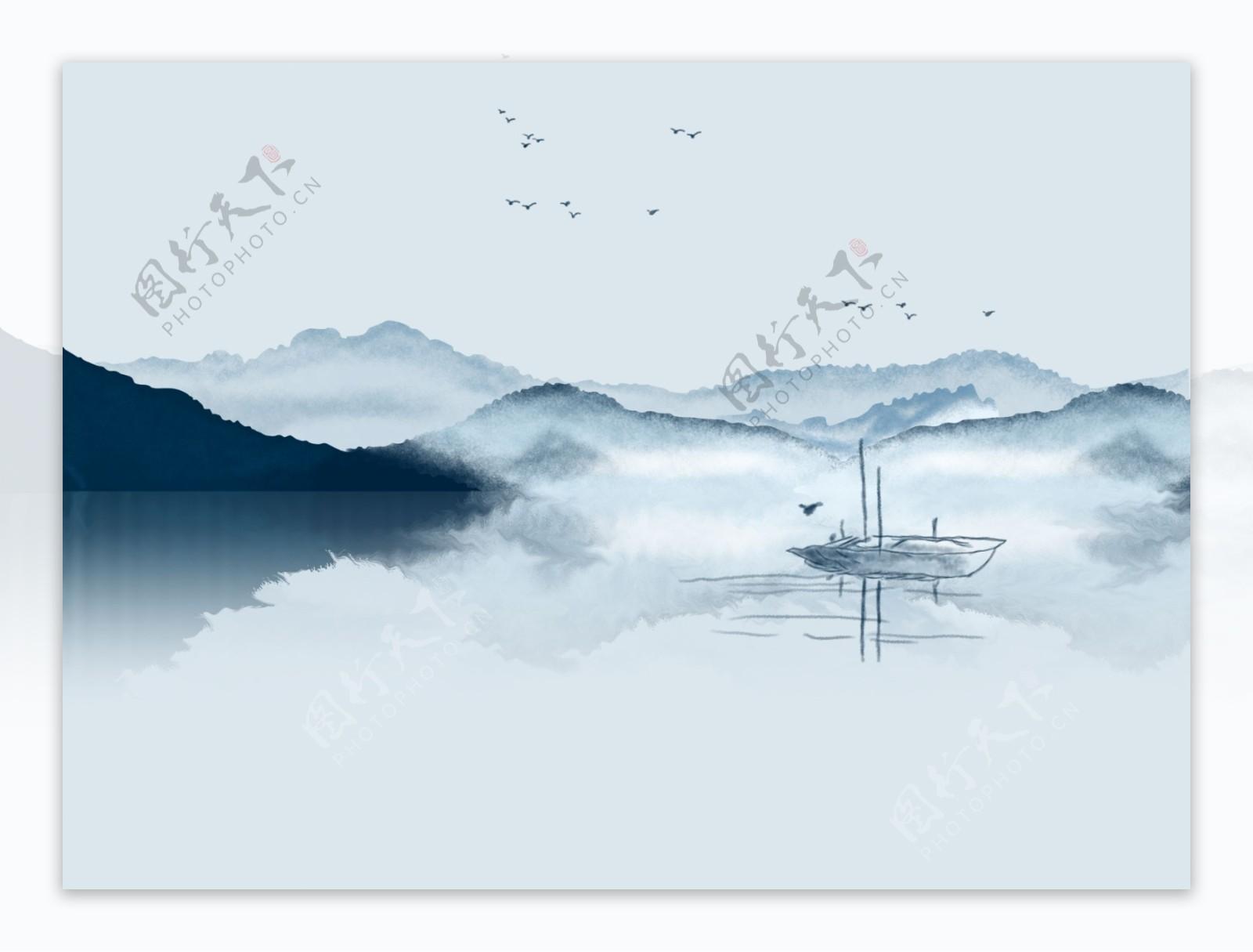 新中式抽象水墨山水背景墙卧室装
