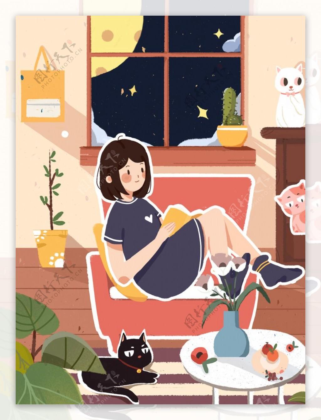 夜晚窗边看书的女孩和猫图片